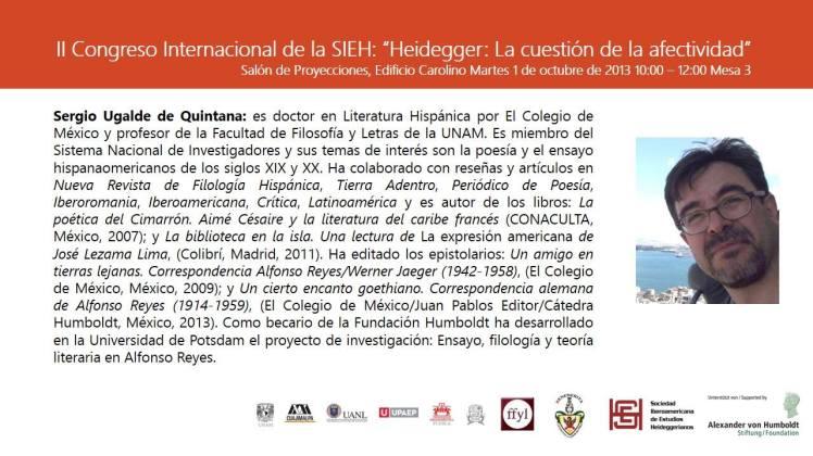 """Martes 1 de octubre de 2013. II CONGRESO INTERNACIONAL DE LA SIEH """"HEIDEGGER: LA CUESTIÓN DE LA AFECTIVIDAD"""""""
