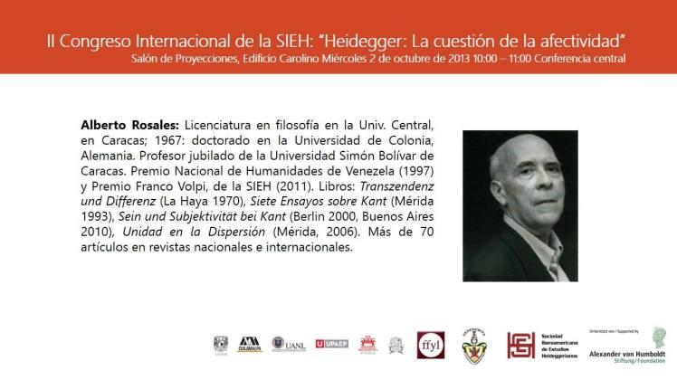 """Miércoles 2 de octubre de 2013. II CONGRESO INTERNACIONAL DE LA SIEH """"HEIDEGGER: LA CUESTIÓN DE LA AFECTIVIDAD"""""""
