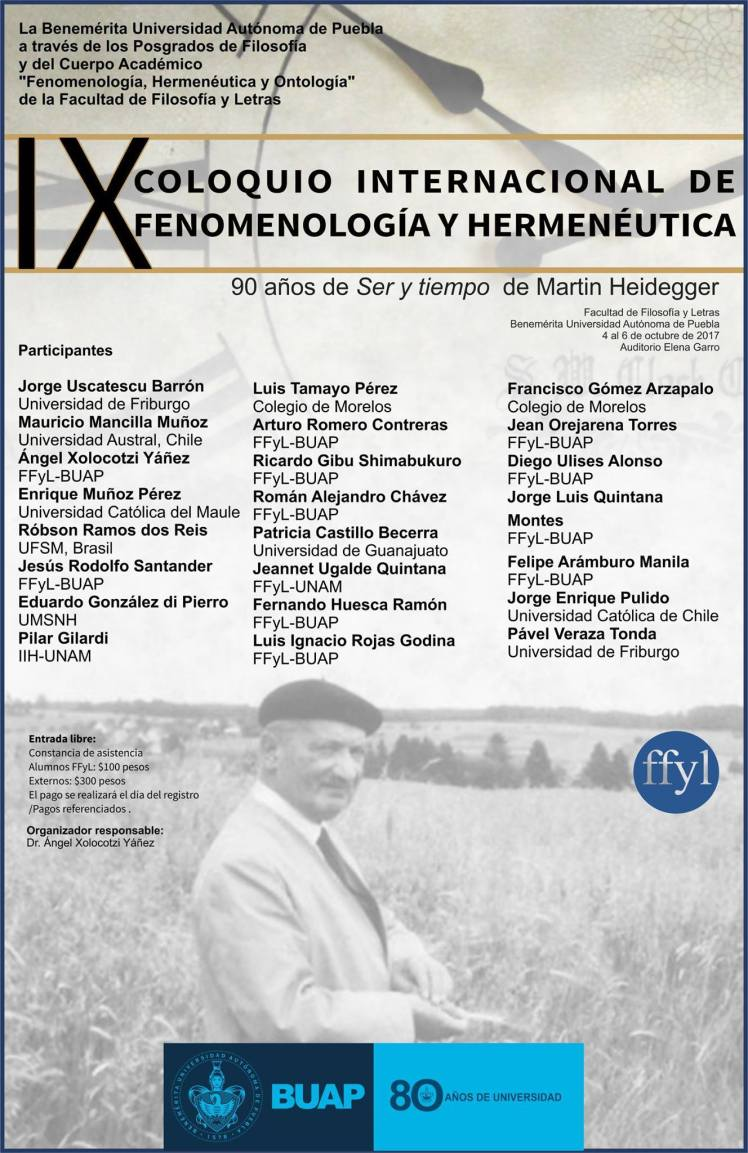 IX Coloquio Internacional de Fenomenología y Hermenéutica. FFyL-BUAP