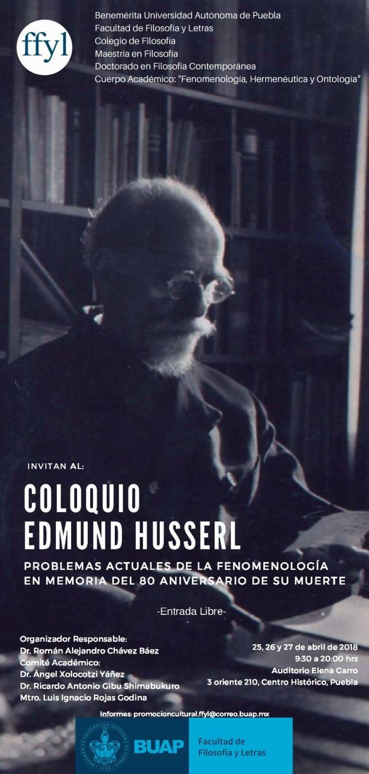 Coloquio Edmund Husserl: Problemas actuales de la fenomenología en memoria del 80 aniversario de su muerte.